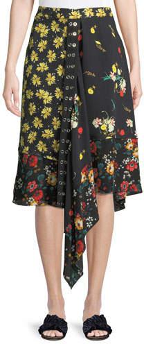 Derek Lam Mixed Botanical-Print Asymmetric Silk Skirt