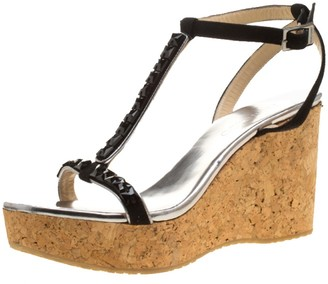 Jimmy Choo Black Crystal Embellished Suede and Silver Leather Natsby Cork Wedge Sandals Size 41
