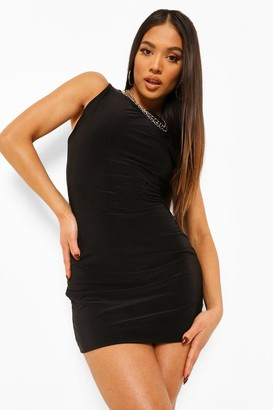 boohoo Petite Double Layer Slinky Open Back Dress