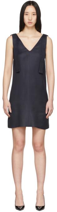 Victoria Victoria Beckham Navy Shoulder Tie Dress
