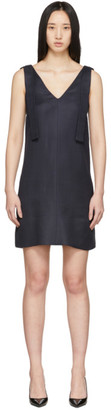 Victoria Victoria Beckham Navy Shoulder Tie Dress