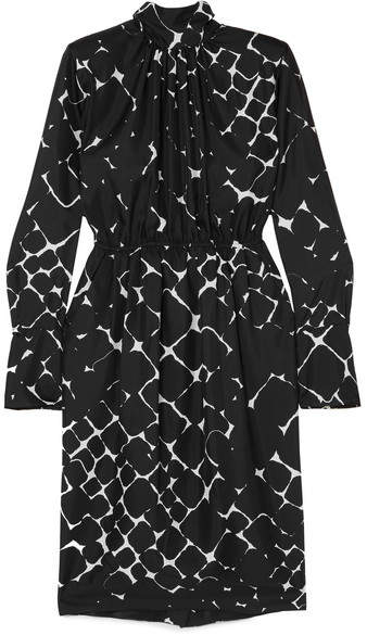 Marc Jacobs Printed Silk Turtleneck Midi Dress - Black
