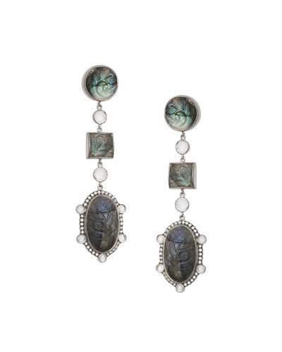 Coomi Affinity Three-Drop Labradorite Earrings with Diamonds