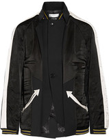 Facetasm Paneled Silk-satin And Wool-twill Jacket - Black