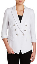Peter Nygard Double Breasted Luxe Ponte Faux-Leather Trim Blazer