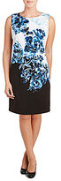 Peter Nygard Crew Neck Sleeveless Printed Scuba Sheath Dress