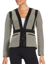 Nipon Boutique Faux Suede-Trimmed Tweed Blazer