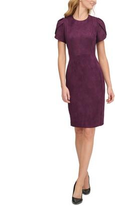 Calvin Klein Scuba-Suede Sheath Dress