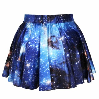 Lirenshige Women Big Girls 3D Digital Pleated High Waisted Skirt Starry Sky A-Line Mini Dress Galaxy Stretch Skater Flared Swing Skirts (Blue Galaxy)