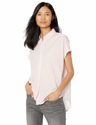 Goodthreads Lightweight Cotton Short-Sleeve Shirt White/Pink Stripe Medium