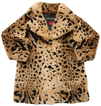 Canadian Leopard Print Faux Fur Coat