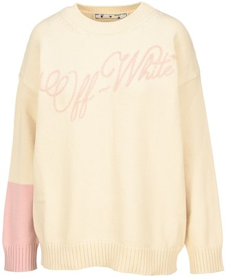 Off-White Logo Embroidered Contrast Sleeve Detail Jumper