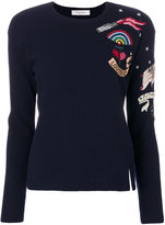 Valentino patch jumper - women - Silk/Cotton/Polyester/Virgin Wool - XS