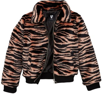 Very Girls Zebra Faux Fur Coat - Pink
