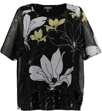Ulla Popken Floral Print Round Neck Blouse with Short Sleeves