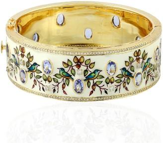 Artisan 18Kt Yellow Gold Natural Diamond Tanzanite Flower Print Enamel Bangle Women Jewelry