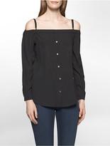 Calvin Klein Button-Down Off-Shoulder Top