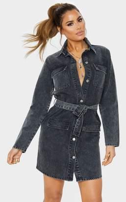 PrettyLittleThing Tall Dark Blue Acid Wash Belted Denim Shirt Dress