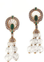 Boucheron 18 Kt Yellow Gold Crystal Emerald Diamond Dangle Earrings New