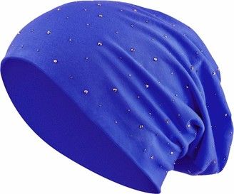 Balinco Jersey Cotton hat Rhinestones Gems Rivets Elastic Long Slouch Beanie Ladies cap Heather Winter Hat (7) - Blue - One size