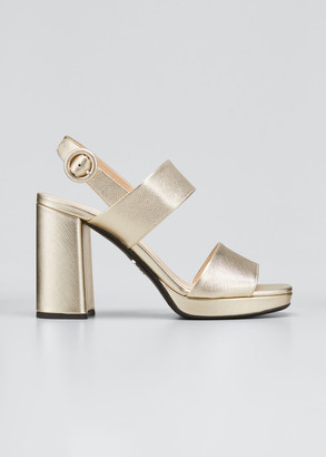 Prada 95mm Metallic Leather Platform Sandals