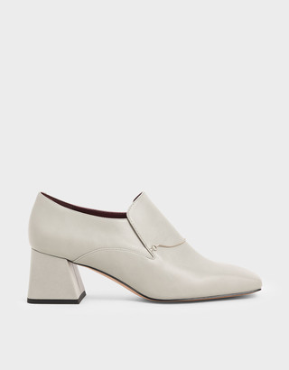 Charles & Keith Chain Link Block Heel Loafers