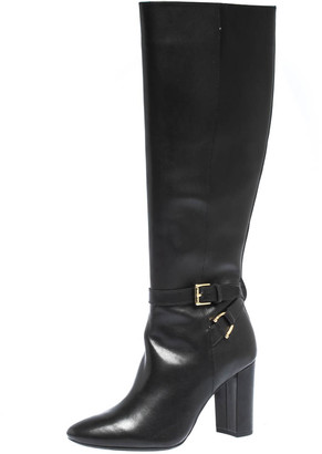 Ralph Lauren Black Leather Buckle Strap Knee Boots Size 37