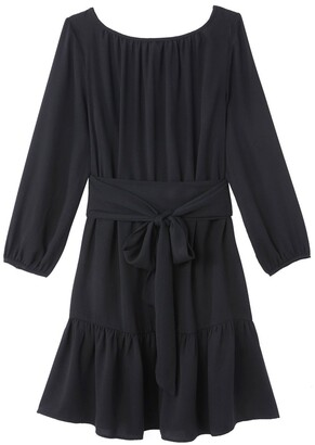 Vanessa Seward X La Redoute Collections Knee-Length Tie-Waist Dress with Long Sleeves