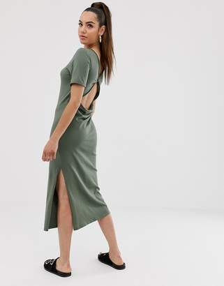 Asos Design DESIGN twist open back t shirt dress-Green