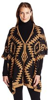 NY Collection Women's Jacquard Poncho-Like Pullover Sweater