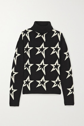 Perfect Moment Star Dust Intarsia Merino Wool Turtleneck Sweater - Black