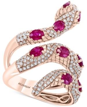 Effy Certified Ruby (1-7/8 ct. t.w.) & Diamond (7/8 ct. t.w.) Snake Ring in 14k Rose Gold