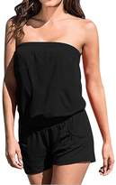 Pink Queen Women Black Strapless Top Shorts Casual Rompers Playsuits