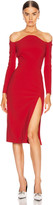 Thierry Mugler Off the Shoulder Slit Midi Dress in Red | FWRD