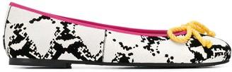 Pretty Ballerinas Rosario snakeskin-effect ballerina shoes