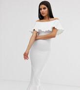 Asos Tall DESIGN Tall scallop detail bandeau bandage midi pencil dress with pephem