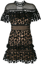 Self-Portrait lace-embroidered dress - women - Polyester/Spandex/Elastane - 10