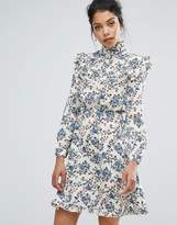 Boohoo High Neck Printed Ruffle Dress