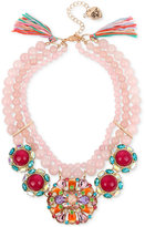 Betsey Johnson Rose Gold-Tone Imitation Pearl and Stone Cluster Statement Necklace