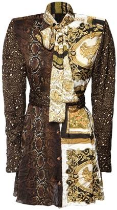 Versace Heritage Print Satin Dress W/ Belt