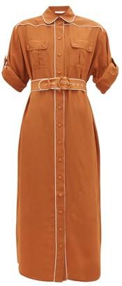 Zimmermann Super Eight Belted Silk Midi Shirtdress - Womens - Light Brown