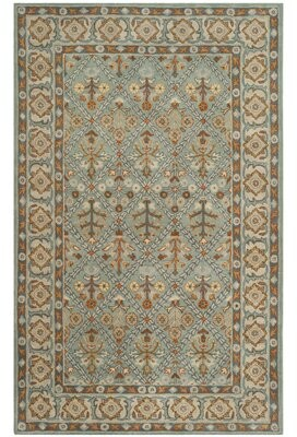 Bungalow Rose Wahcheechee Hand-Tufted Wool Blue/Orange Area Rug Rug Size: Rectangle 3' x 5'