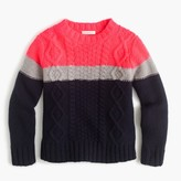 J.Crew Girls' colorblock wool cable-knit sweater