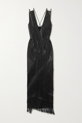 Preen by Thornton Bregazzi Phoebe Fringed Satin Maxi Dress - Black