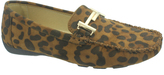 Pierre Dumas Brown Leopard Print Buckle-Accent Viola Loafer