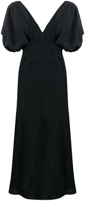Jil Sander puff sleeve flared dress