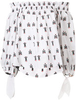 Caroline Constas off-shoulder printed blouse - women - Cotton - XS