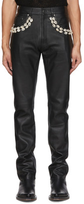 Eastwood Danso SSENSE Exclusive Black Leather Cowrie Shell Trousers