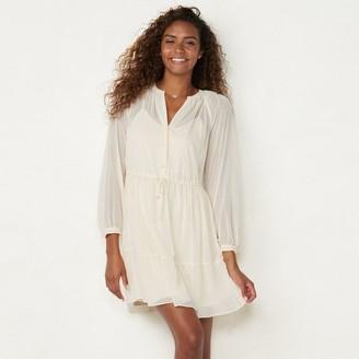 Lauren Conrad Women's Button-Front Midi Dress