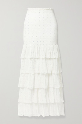 retrofete Lindsey Shirred Tiered Embellished Silk-crepon Maxi Skirt - White